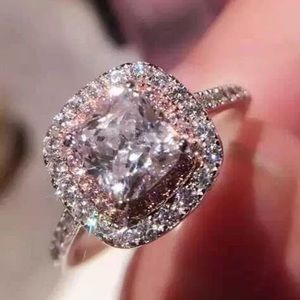 Jewelry - Cushion Cut 2ct 5A Zircon stone Pink Cz Sterling